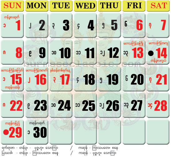 Zodiac Calendar April : The best myanmar website