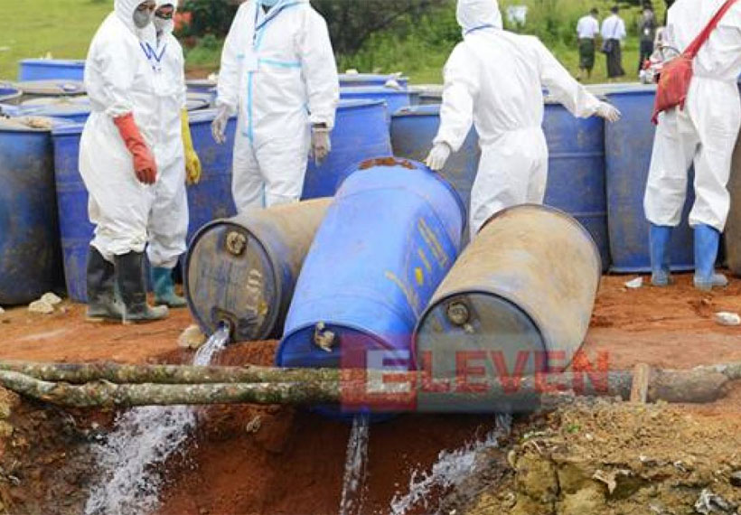 Seized precursor chemicals and paraphernalia destroyed in Shan State